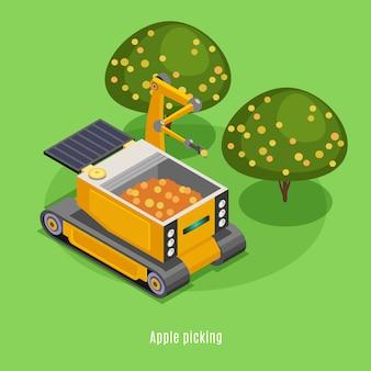 Isometrische samenstelling van landbouwoogstrobots met geautomatiseerde robotarmmachines die vruchten van bomenachtergrond plukken
