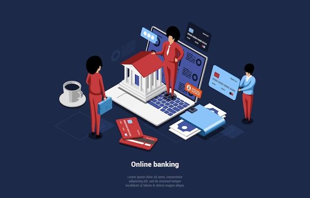 Isometrische samenstelling van online bankieren in 3d-cartoonstijl op blauw donker