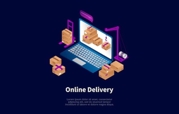 Isometrische samenstelling van online bezorgingsconcept