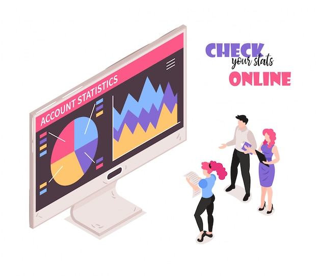 Isometrische samenstelling van online persoonlijke bankdiensten met kleurrijke weergave van rekeningstatistieken en klanten die de isometrische samenstelling van het saldo controleren
