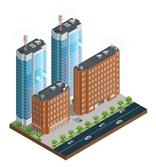 Isometrische samenstelling van stad straat met apparaten in huizen toren