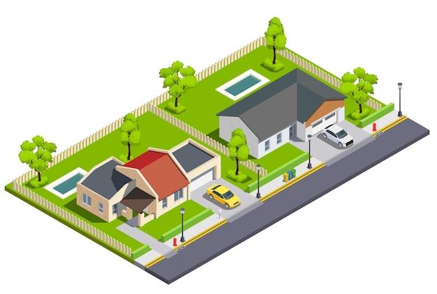 Isometrische samenstelling van stadsgebouwen in de voorsteden