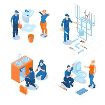Isometrische sanitair service kantoor aan huis badkamer sanitair bevestigingsinstallaties ketelverwarming reparatie