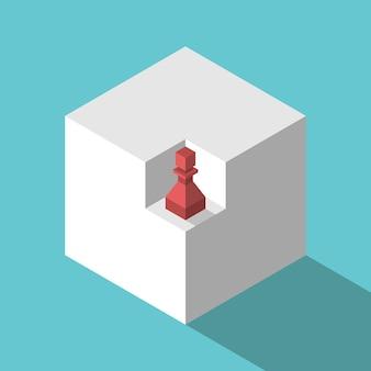 Isometrische schaakpion in niche van kubus marktkansmissieconcept