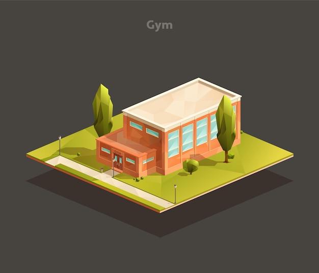 Isometrische school sportschool gebouw