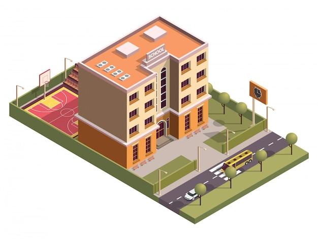 Isometrische school wolkenkrabber gebouw en basketbal grond langs voertuig straat.