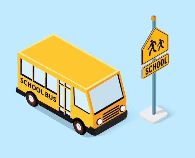 Isometrische schoolbus stedelijke infrastructuur