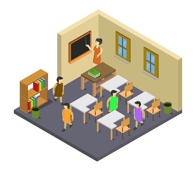 Isometrische schoolkamer
