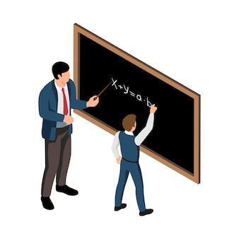 Isometrische schoollesillustratie met mannelijke leraar en leerling die sommen aan boord doen