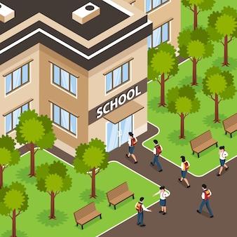 Isometrische schoolsamenstelling met buitenlandschap en gevel van het gebouw met ingang en wandelende leerlingen met rugzakken