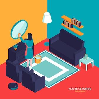 Isometrische schoonmaak illustratie