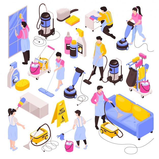 Isometrische schoonmaakservice set van geïsoleerde afbeeldingen reinigingsproducten wasmiddelen stofzuigers en mensen in uniform