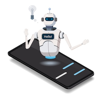 Isometrische science chat-bot, smartphoneconcept. kunstmatige intelligentie
