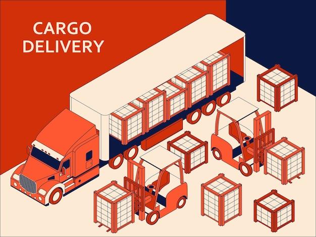 Isometrische semi-vrachtwagen met rode cabine die commerciële lading vervoert. vorkheftruck voor heffen Premium Vector