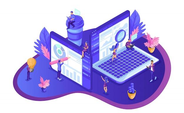 Isometrische seo-analyse. zoekmachine optimalisatie analyse concept. it-specialisten die rond webpagina's werken