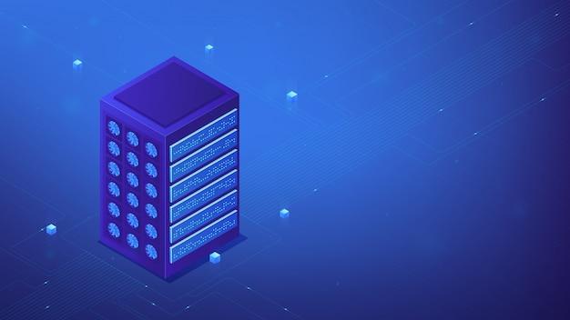 Isometrische server boerderij concept.