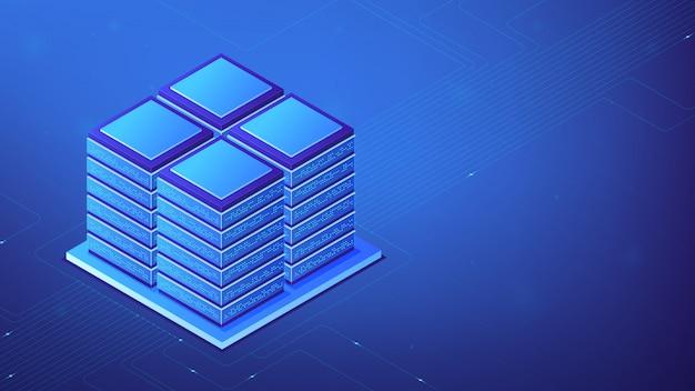 Isometrische serverruimte concept.