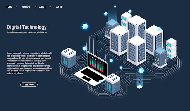 Isometrische serverruimte en groot gegevensverwerkingsconcept, datacenter en databasepictogram