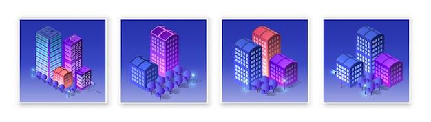 Isometrische set 3d module blok district deel