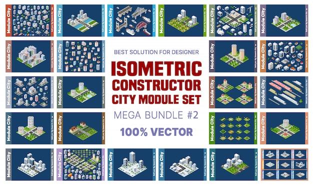 Isometrische set blokken module van gebieden