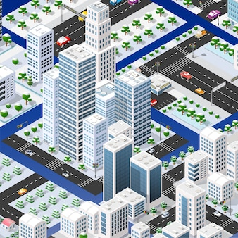 Isometrische set blokkenmodule van gebieden van de stadsconstructie van de perspectiefstad van ontwerp van de stedelijke omgeving.
