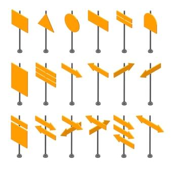 Isometrische set houten uithangborden geïsoleerd. lege pijlen en planken. verschillende richtingen.
