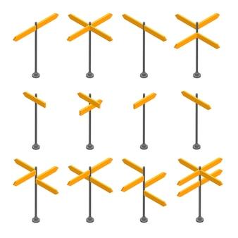 Isometrische set houten uithangborden. lege pijlen en planken. verschillende richtingen voor ruimte voor tekst.