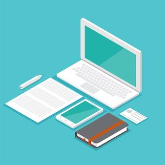 Isometrische set laptop