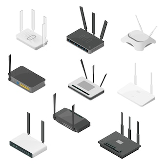 Isometrische set routers. isometrische realistische pictogrammen die op wit worden geïsoleerd