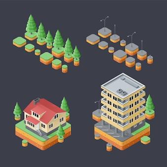 Isometrische set stedelijke gebouwen