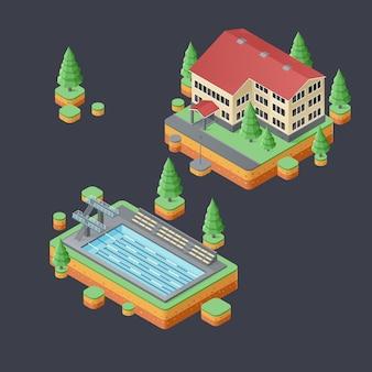 Isometrische set stedelijke zomergebouwen.