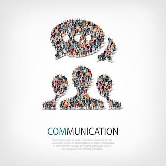 Isometrische set stijlen abstract, communicatie, bubble chat, symbool web infographics concept van een druk plein