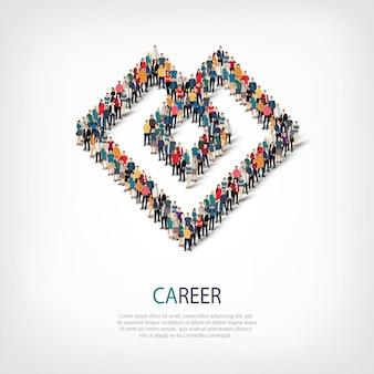 Isometrische set stijlen abstract symbool, carrière, web infographics concept van een druk plein