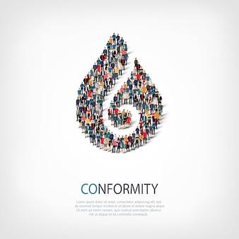 Isometrische set stijlen abstract symbool, conformiteit, web infographics concept van een druk plein