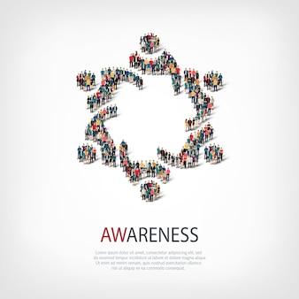 Isometrische set stijlen, bewustzijn, web infographics concept illustratie van een druk vierkant, platte 3d. menigtepuntengroep die een vooraf bepaalde vorm vormt. creatieve mensen.