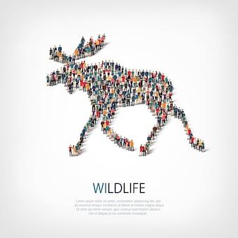 Isometrische set stijlen elanden, dieren in het wild, web infographics concept van een druk plein