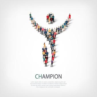 Isometrische set stijlen, kampioen, web infographics concept illustratie van een druk plein. menigtepuntengroep die een vooraf bepaalde vorm vormt. creatieve mensen.