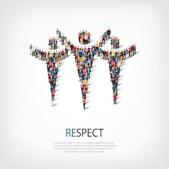 Isometrische set stijlen, respect, web infographics concept illustratie van een druk plein. menigtepuntengroep die een vooraf bepaalde vorm vormt. creatieve mensen.