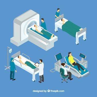 Isometrische set van artsen met patiënten