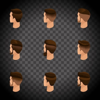 Isometrische set van avatars, herenkapsels, hipster stijl