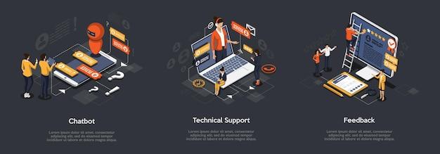 Isometrische set van chatbot, technische ondersteuning en feedback.