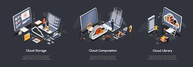 Isometrische set van cloudopslag Premium Vector