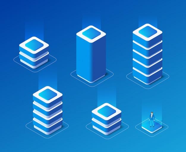 Isometrische set van een computer
