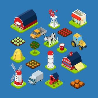 Isometrische set van gereedschap voor het bouwen van landbouwproducten