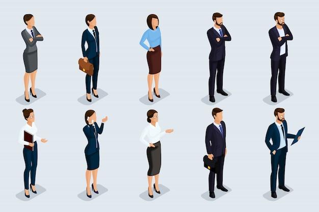 Isometrische set van mannen en vrouwen in zakelijke kleding, van een bedrijfscode van mensen uit het bedrijfsleven. zakenlieden op een grijze geïsoleerde achtergrond ,.