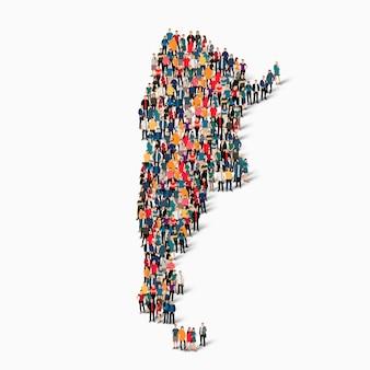Isometrische set van mensen die kaart van argentinië vormen