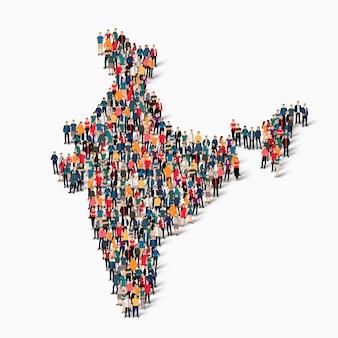Isometrische set van mensen die kaart van india vormen