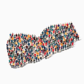 Isometrische set van mensen die kaart van jemen vormen