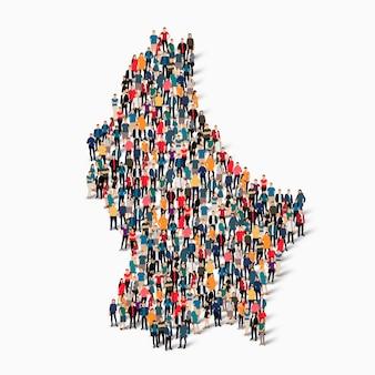 Isometrische set van mensen die kaart van luxemburg, land, web infographics concept van drukke ruimte, platte 3d vormen. menigtepuntengroep die een vooraf bepaalde vorm vormt.