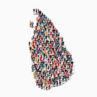 Isometrische set van mensen die kaart van sri lanka vormen